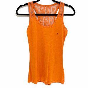 Suzy Shier Lace Racerback Tank Top Orange S